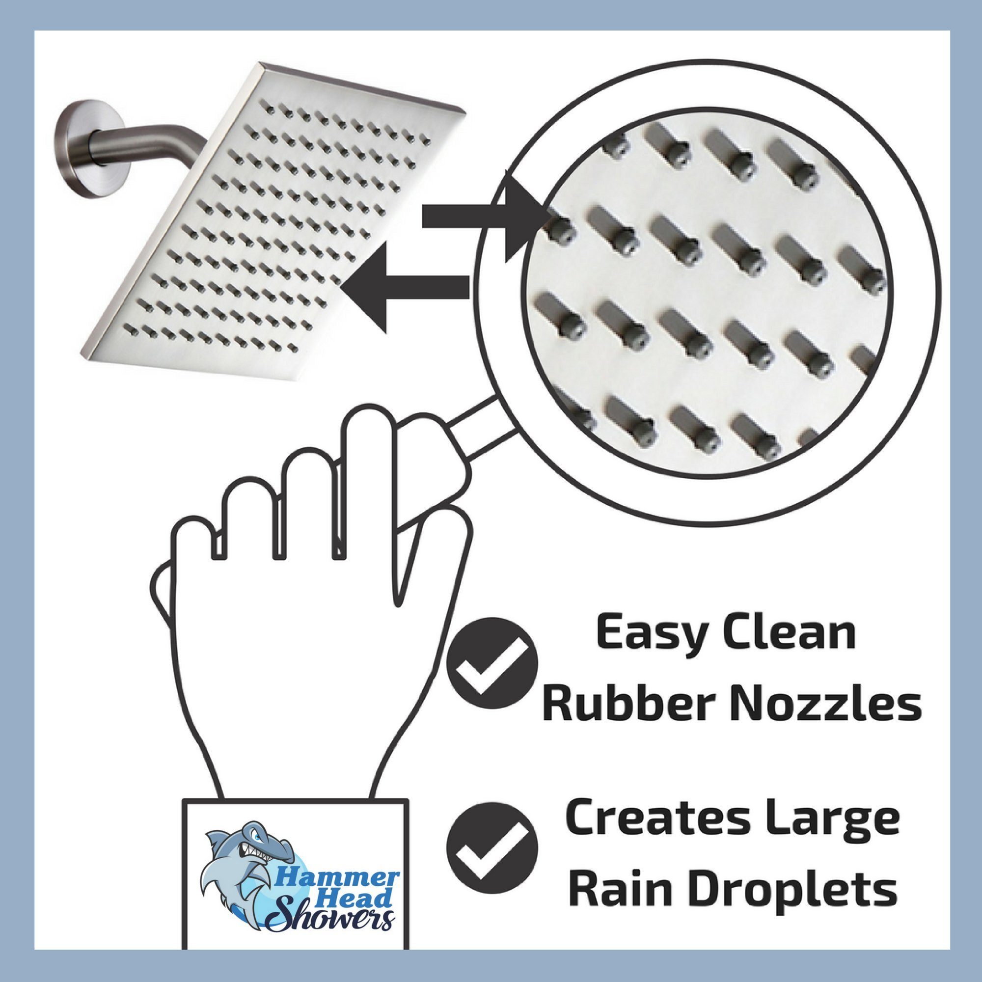 100% METAL Rain Shower Head Square 8 Inch Rainfall Showerhead with 2.5 GPM High Pressure Water Flow | Large Luxury Rainshower for Wall Mount, Overhead, or Ceiling Mounted Waterfall | Brushed Nickel by HammerHead Showers (Image #5)