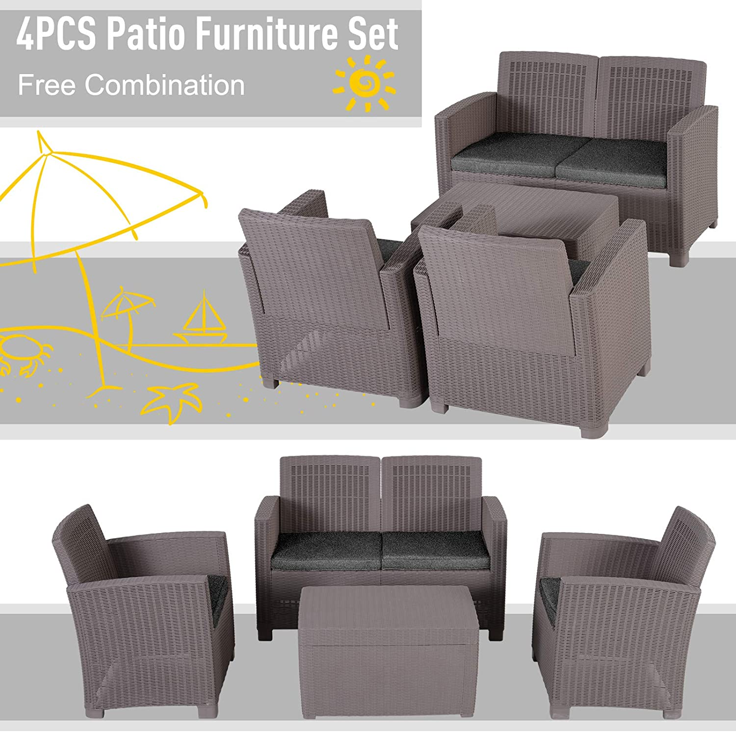 Grey Outsunny Garden PP Rattan Style Sofa Table Set 4 Seater Outdoor Patio 2 Single Chairs /& 1 Bench Conservatory Furniture Cushioned