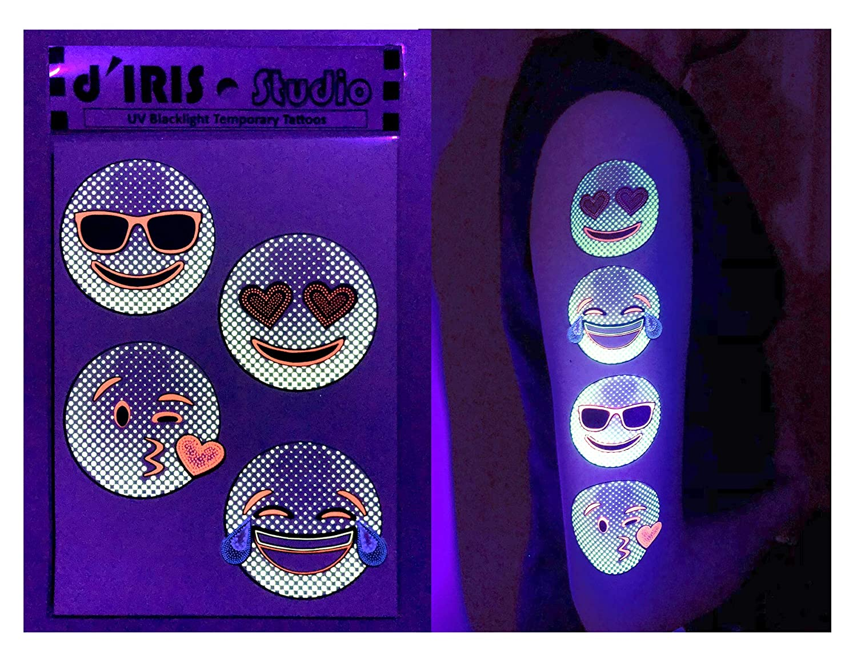 d'IRIS studio UV Glow Blacklight Temporary Tattoos-Emojis Flash Neon Toy Game Temp Party Tattoo Accessories Stickers Favor Dark Nightclub Electric Dance Music Festival Concert EDM