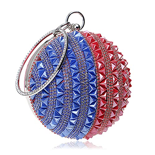 0e424b3f4f5 IBELLA Woman Round Ball Clutch Handbag Rhinestone Ring Handle Purse Evening  Bag (Blue and Red