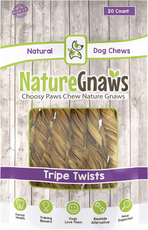 Nature Gnaws Tripe Twists – 100 Natural Beef Dog Chew Treats