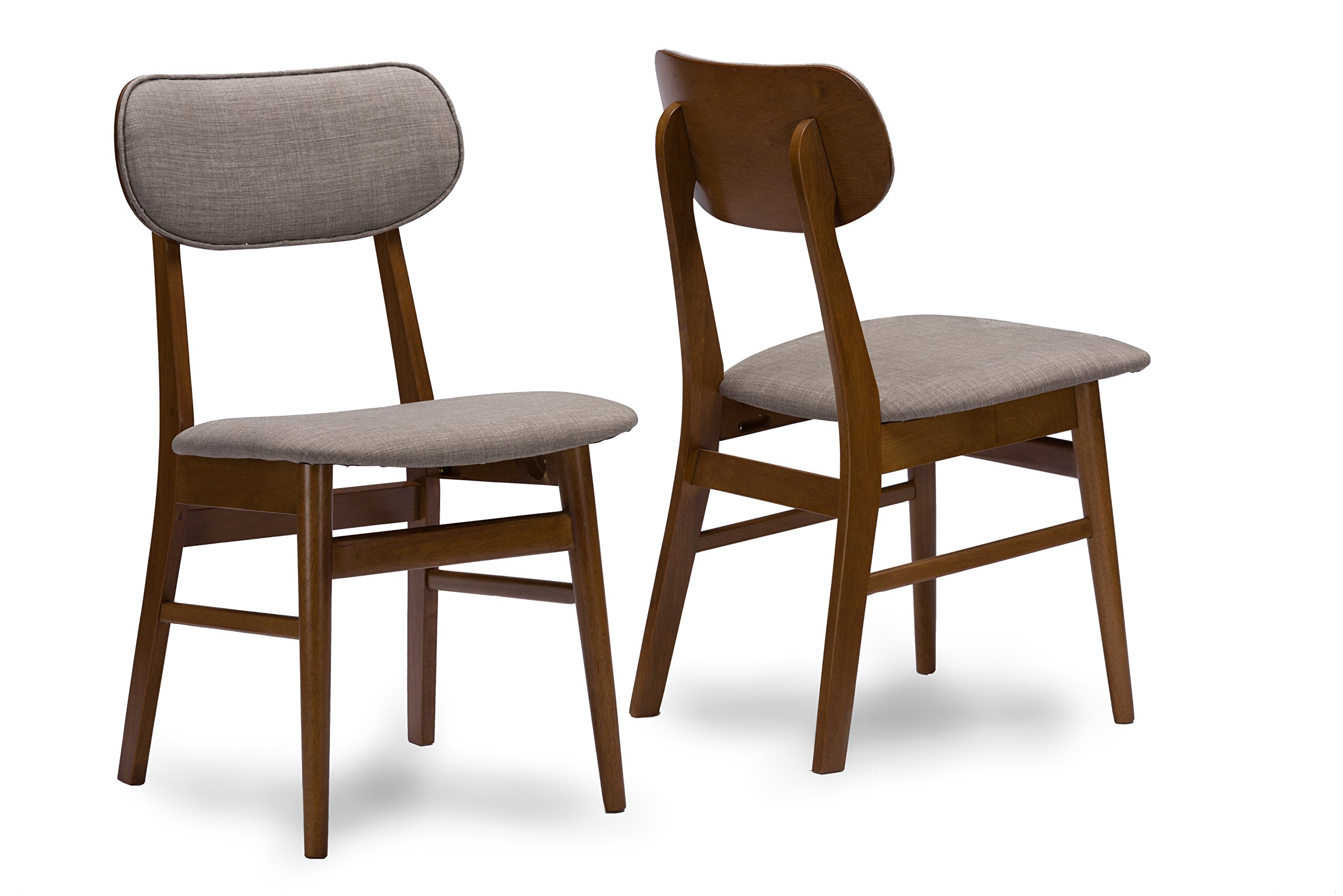 Baxton Studio Sacramento Mid-Century Dark Walnut Wood and Grey Faux Leather Dining Chairs (Set of 2) - Mid-Century design set of 2 dining chairs Solid rubber wood with veneer finishing Grey fabric upholstery with foam padding - kitchen-dining-room-furniture, kitchen-dining-room, kitchen-dining-room-chairs - 81v NfcWISL -