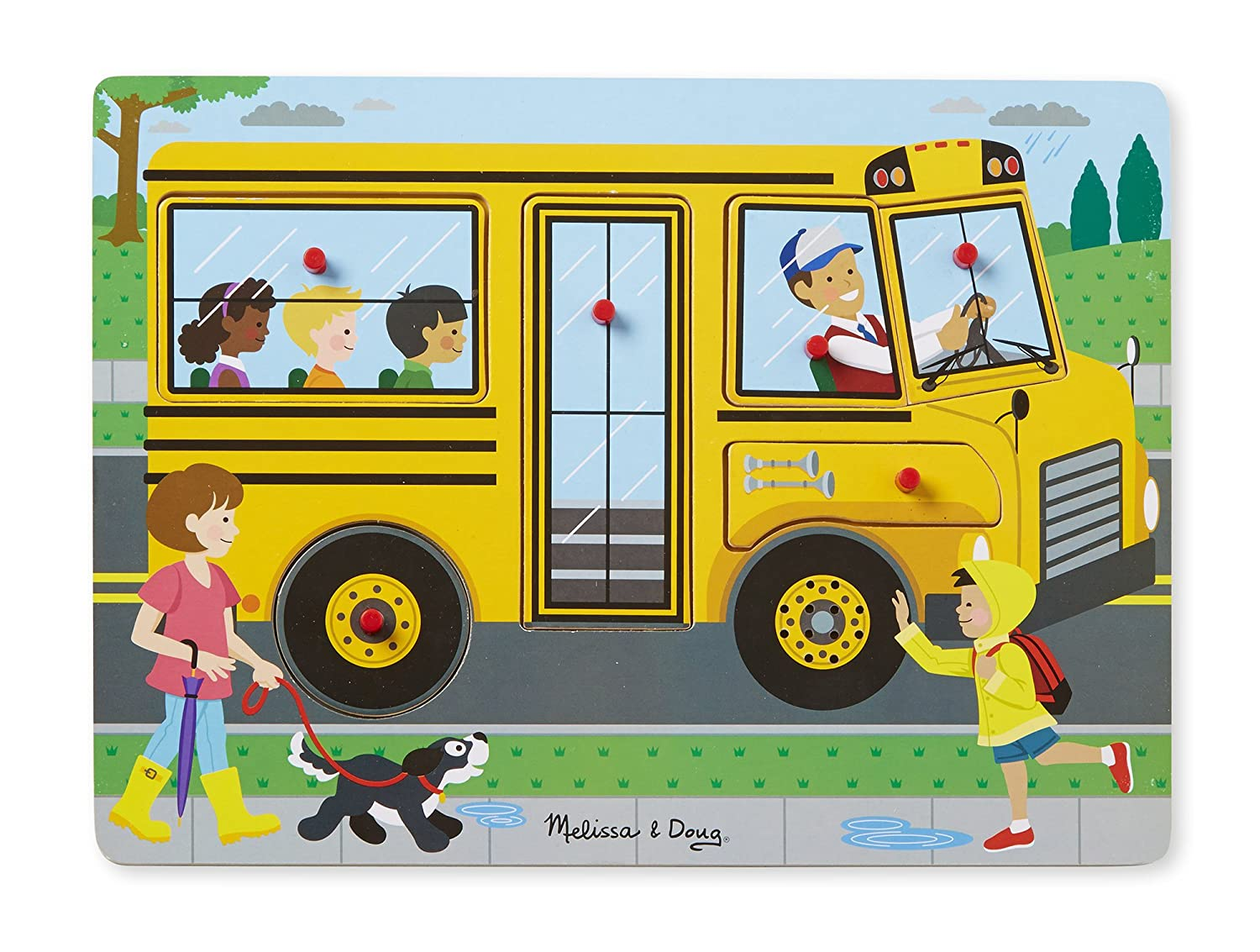 Melissa & Doug The Wheels On The Bus Sound Puzzle (6 Piece) Game MELRT 739