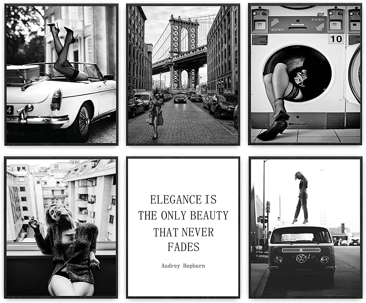 Black and White Fashion Wall Art Canvas Prints Vintage Fashion Poster Retro Pop Art Trendy Posters for Teen Girls Woman Fashion Pictures Artwork for Living Room Bedroom Decor 8x10 Inch Unframed