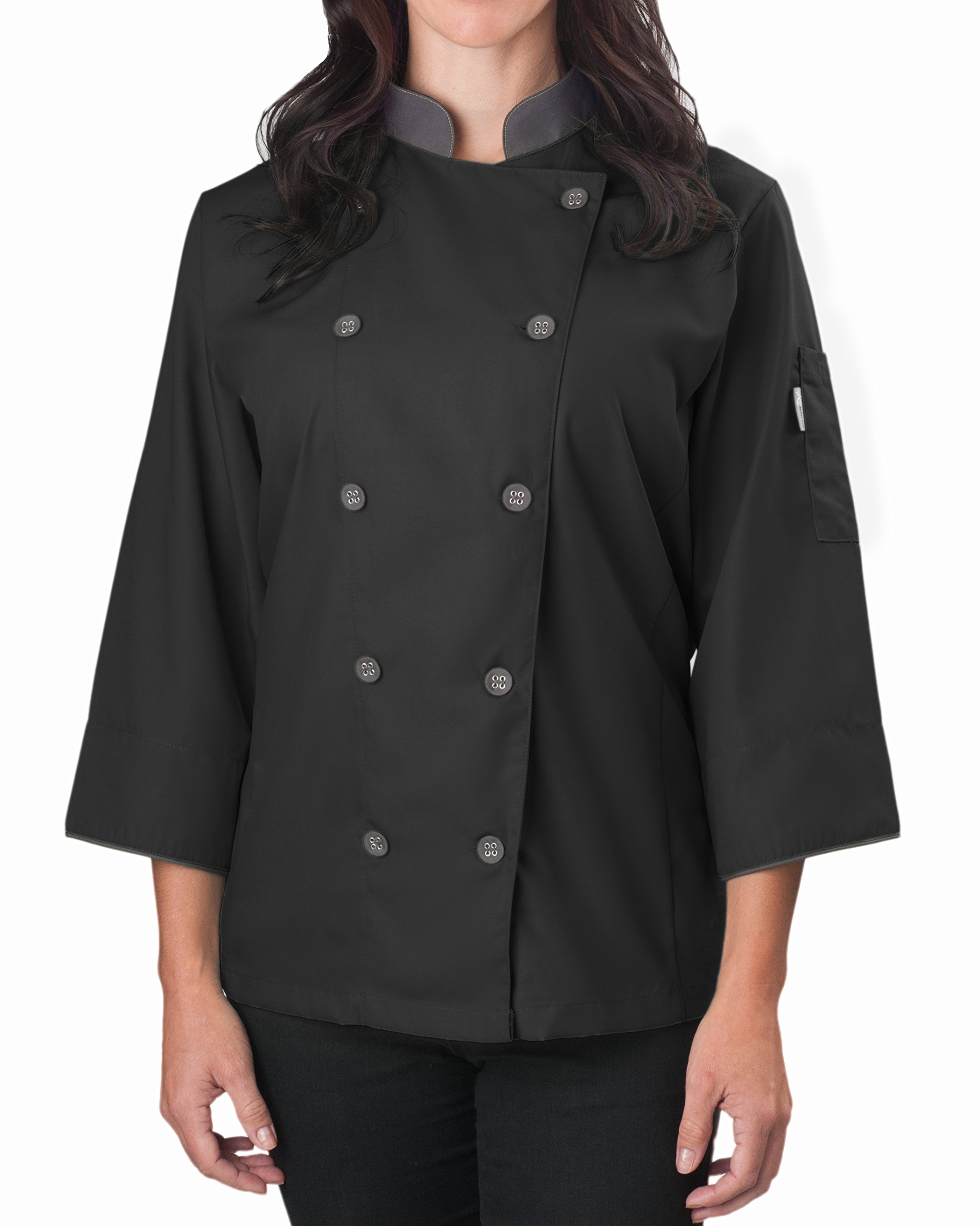 KNG Women's ¾ Sleeve Active Chef Coat, Black with Slate Accent, 2XL