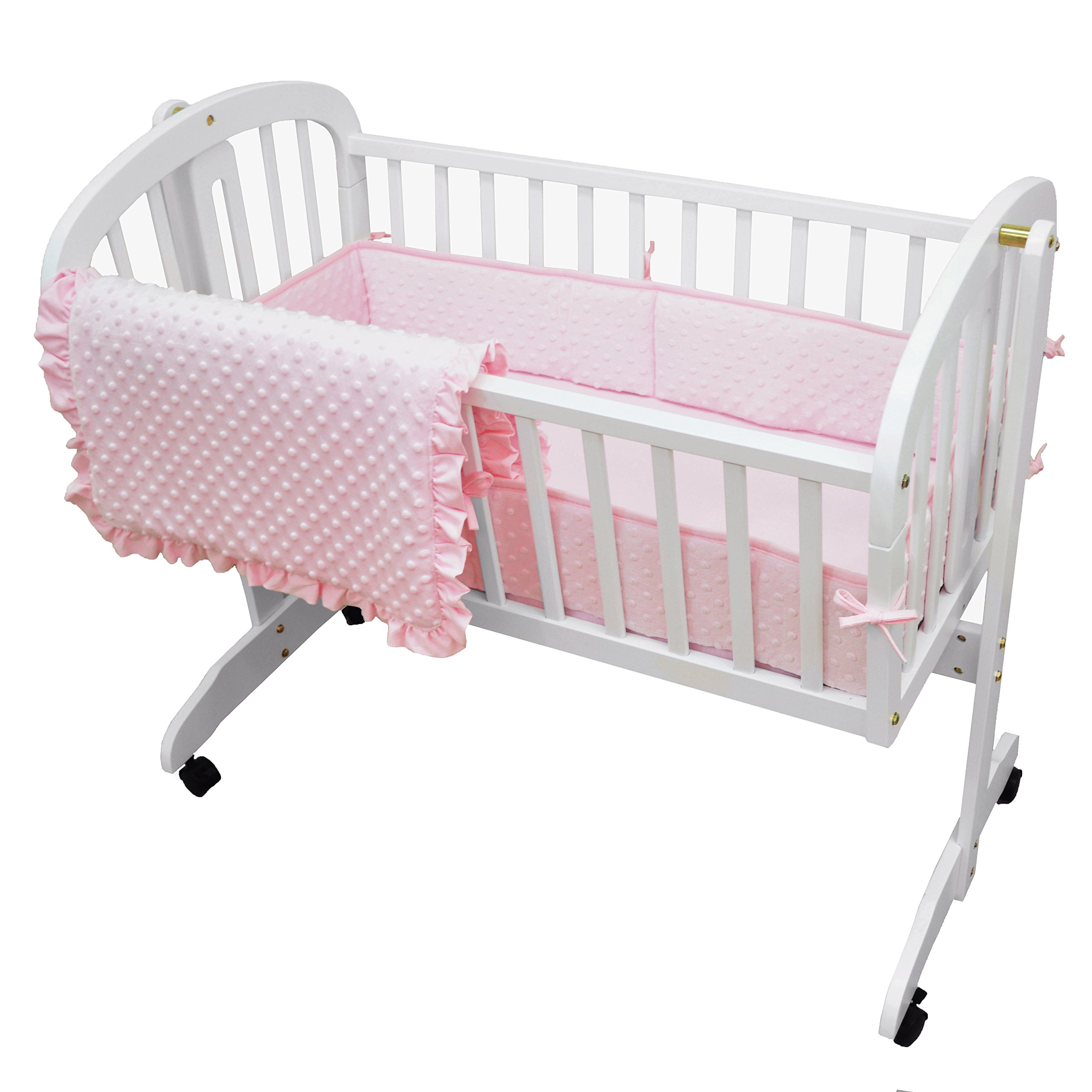 American Baby Company Heavenly Soft Minky Dot 3-Piece Cradle Bedding Set, Pink, for Girls by American Baby Company