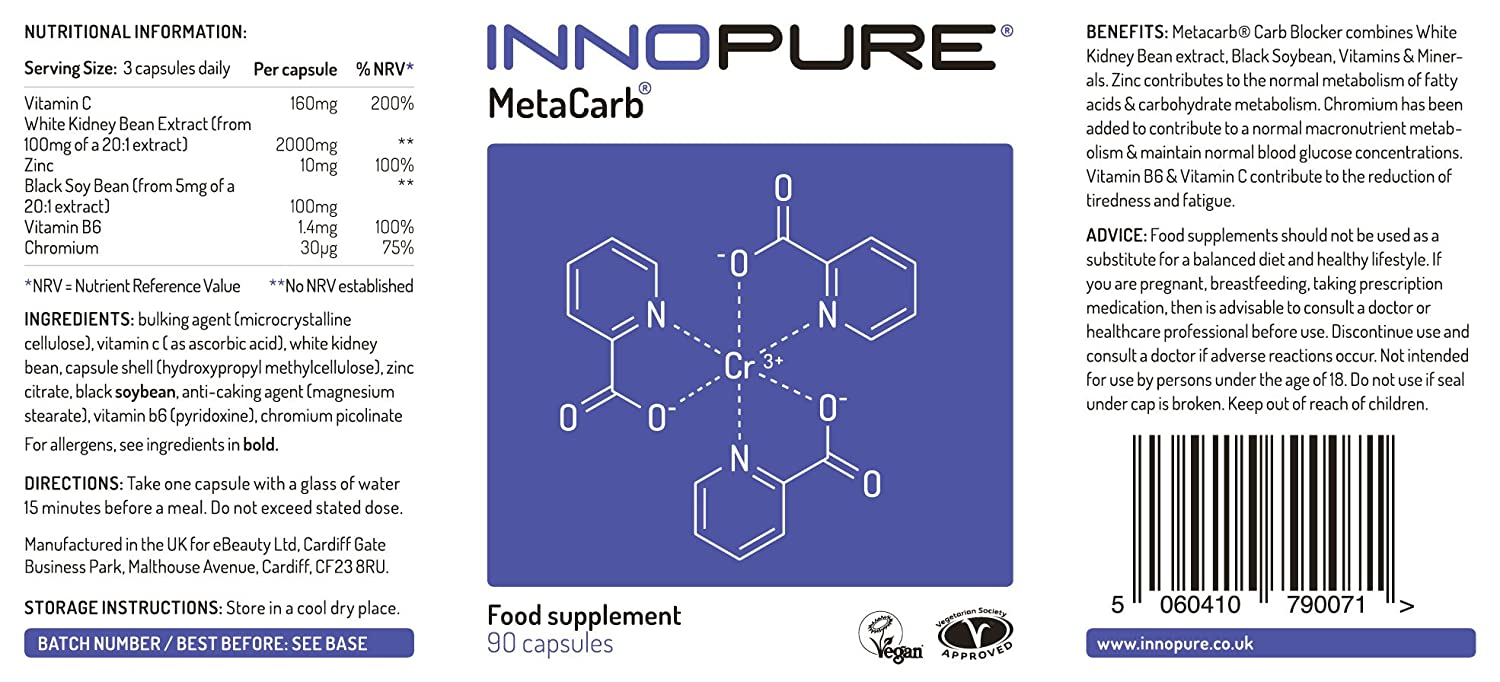Carb blocker metacarb diet pills high strength formulation with carb blocker metacarb diet pills high strength formulation with white kidney bean extract 90 capsules innopure amazon health personal care ccuart Gallery