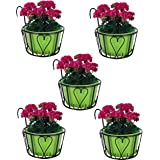 Nuha Iron Railing Round Basket Set of 5 - Stand for Plants, Balcony, Garden, Home Decoration