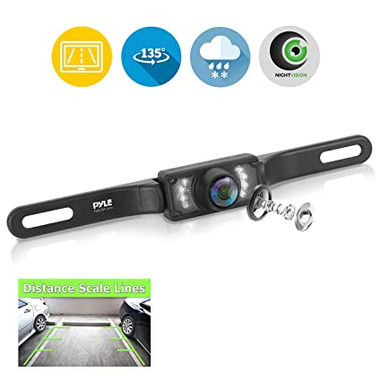 license plate rear view camera - built-in distance scale lines backup  parking/reverse