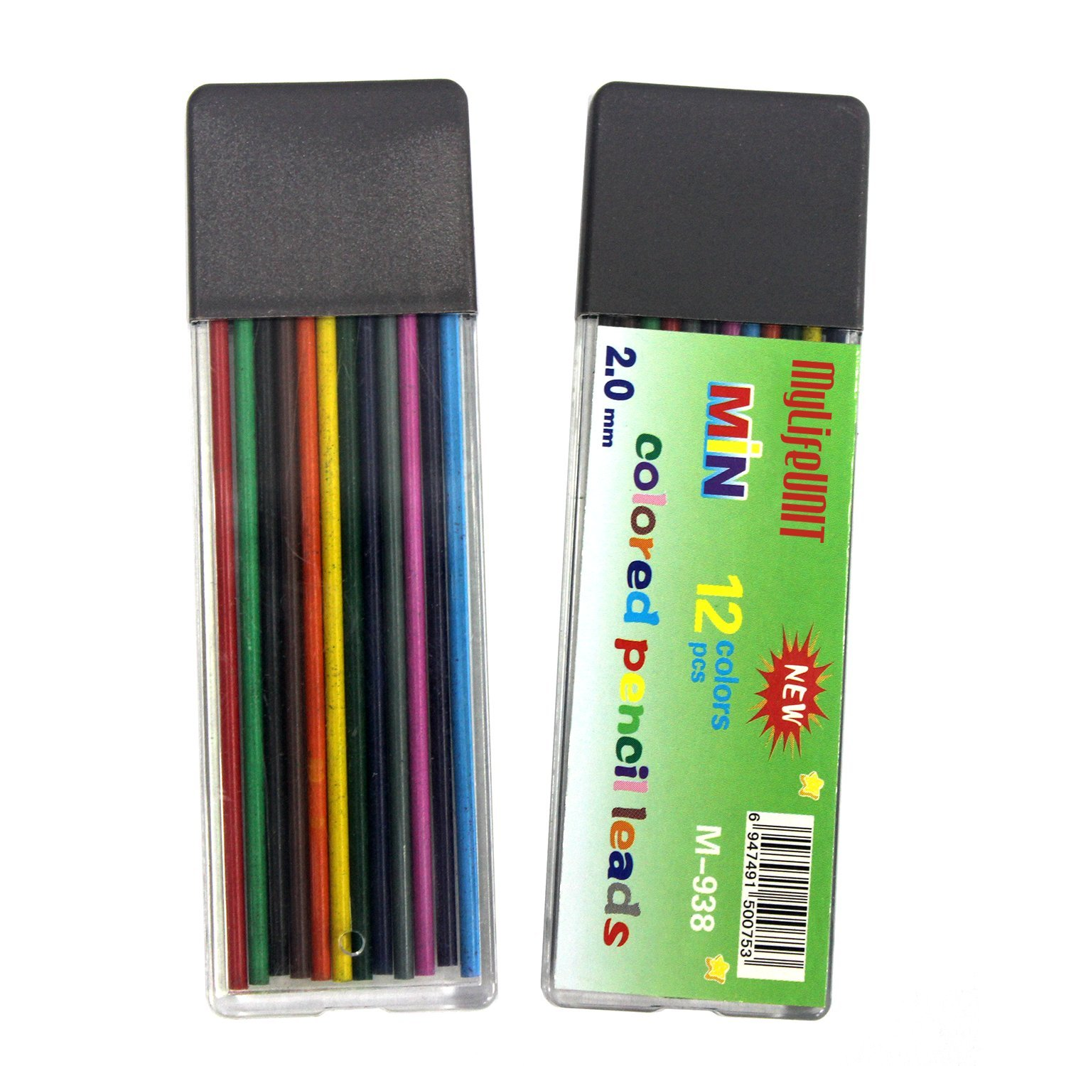 Amazon.com : MyLifeUNIT 2mm Color Pencil Lead, 2.0mm 12 Colors Lead ...