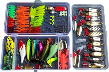 275pcs Set Bionic Fishing Lure Tackle Kit Minnow Crank Spoon Bait Spinner Soft