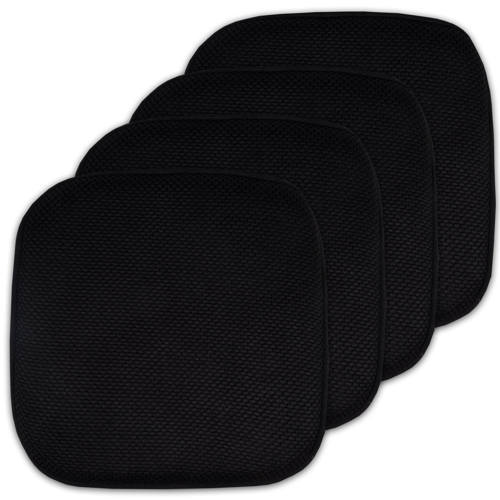 4 Pack Memory Foam Honeycomb Nonslip Back 16'' x16'' Chair/Seat Cushion Pad by Sweet Home Collection