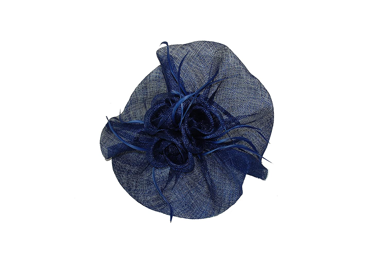 GIZZY® Ladies Elegant French Navy Blue Sinamay Frill Disc Fascinator with  Roses on Headband.  Amazon.co.uk  Clothing 8967d6f877a