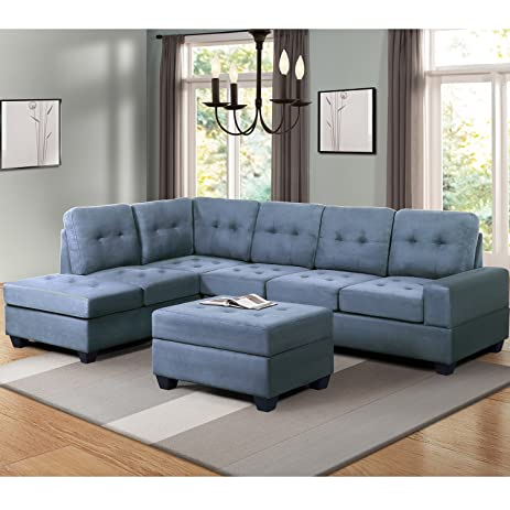 Harper u0026 Bright Designs 3 Piece Sectional Sofa Microfiber with Reversible Chaise Lounge Storage Ottoman and : sofa with reversible chaise lounge - Sectionals, Sofas & Couches