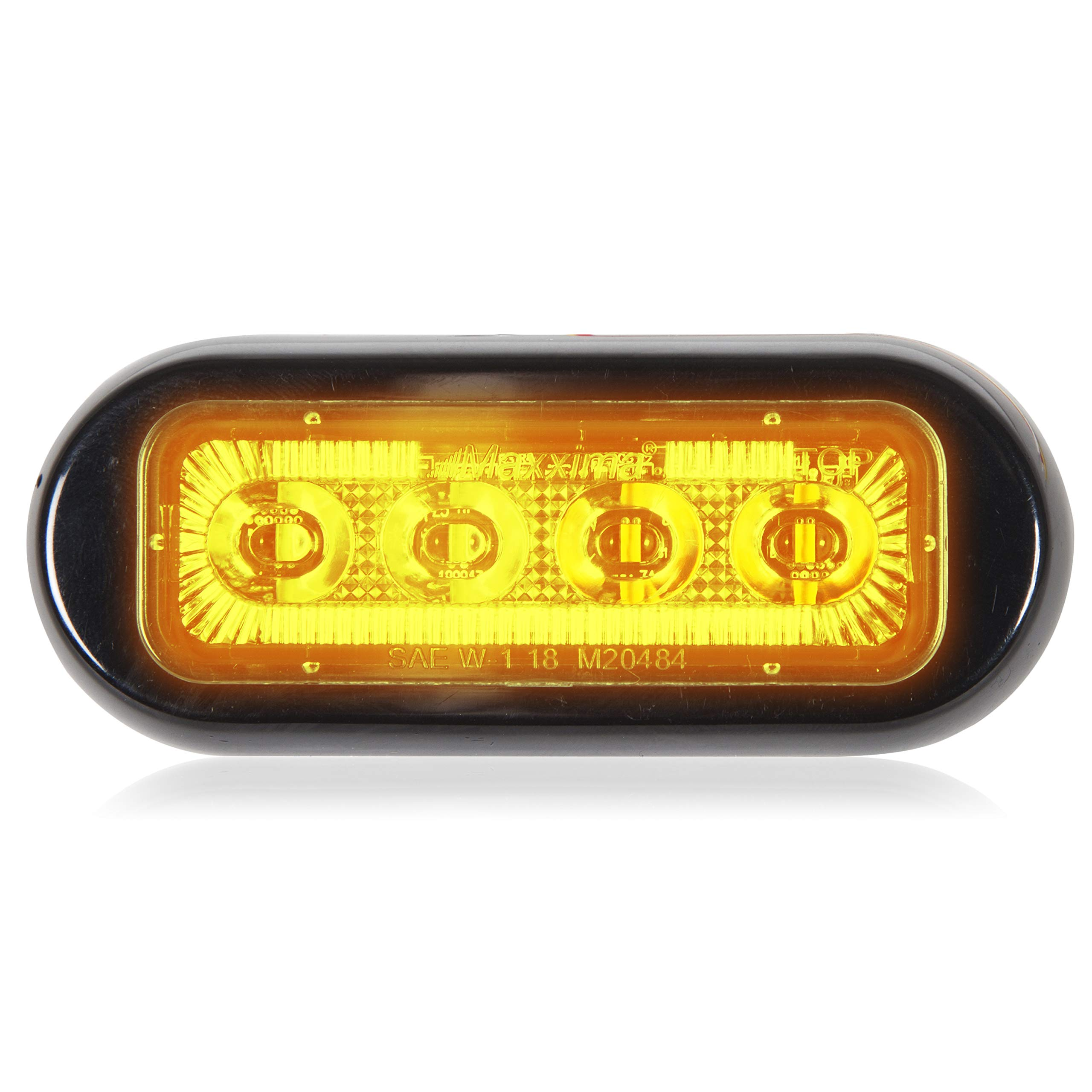 Maxxima M20484YCL 4 LED Rectangular Surface Mount Warning Amber Clear Lens