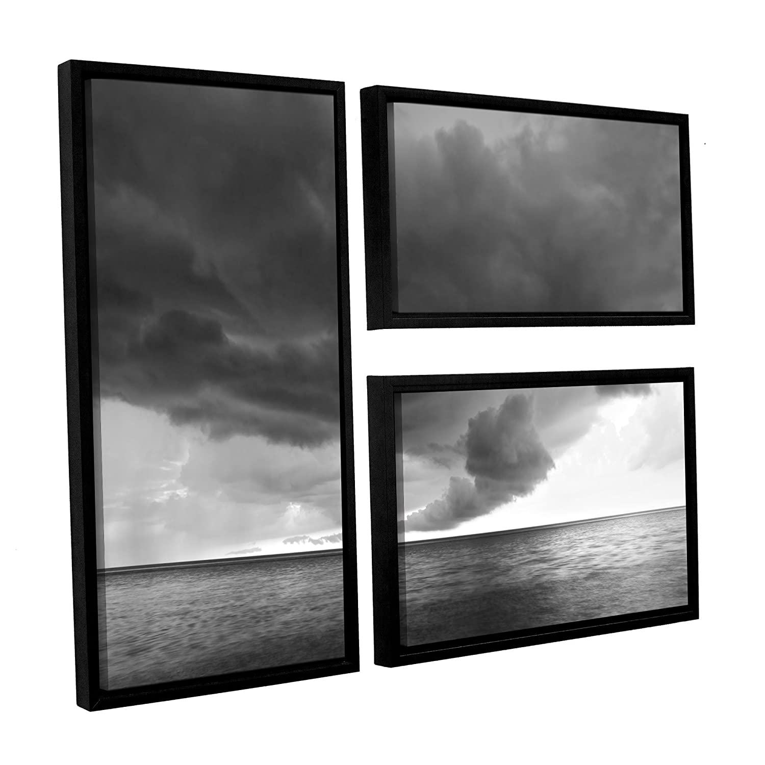 ArtWall Dan Wilsons Lake Erie Storm 3-Piece Floater Framed Canvas Artwork 24 by 36-Inch