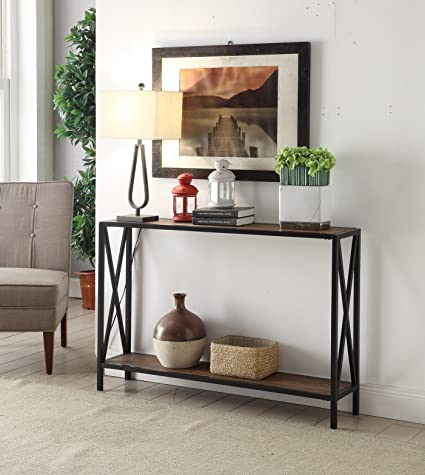Brown Top / Black Metal Frame 2 Tier Entryway Console Sofa Table With X