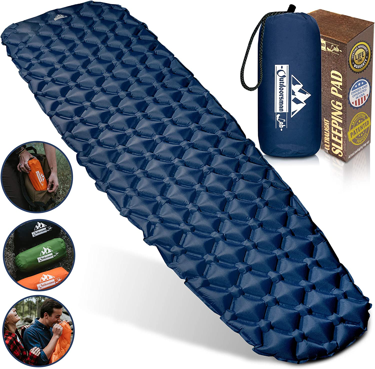 Outdoorsman Lab Camping Sleeping Pad, Ultralight Inflatable Camping Pad, Compact Hiking & Backpacking Gear Includes Camping Mat, Bag & Repair Kit