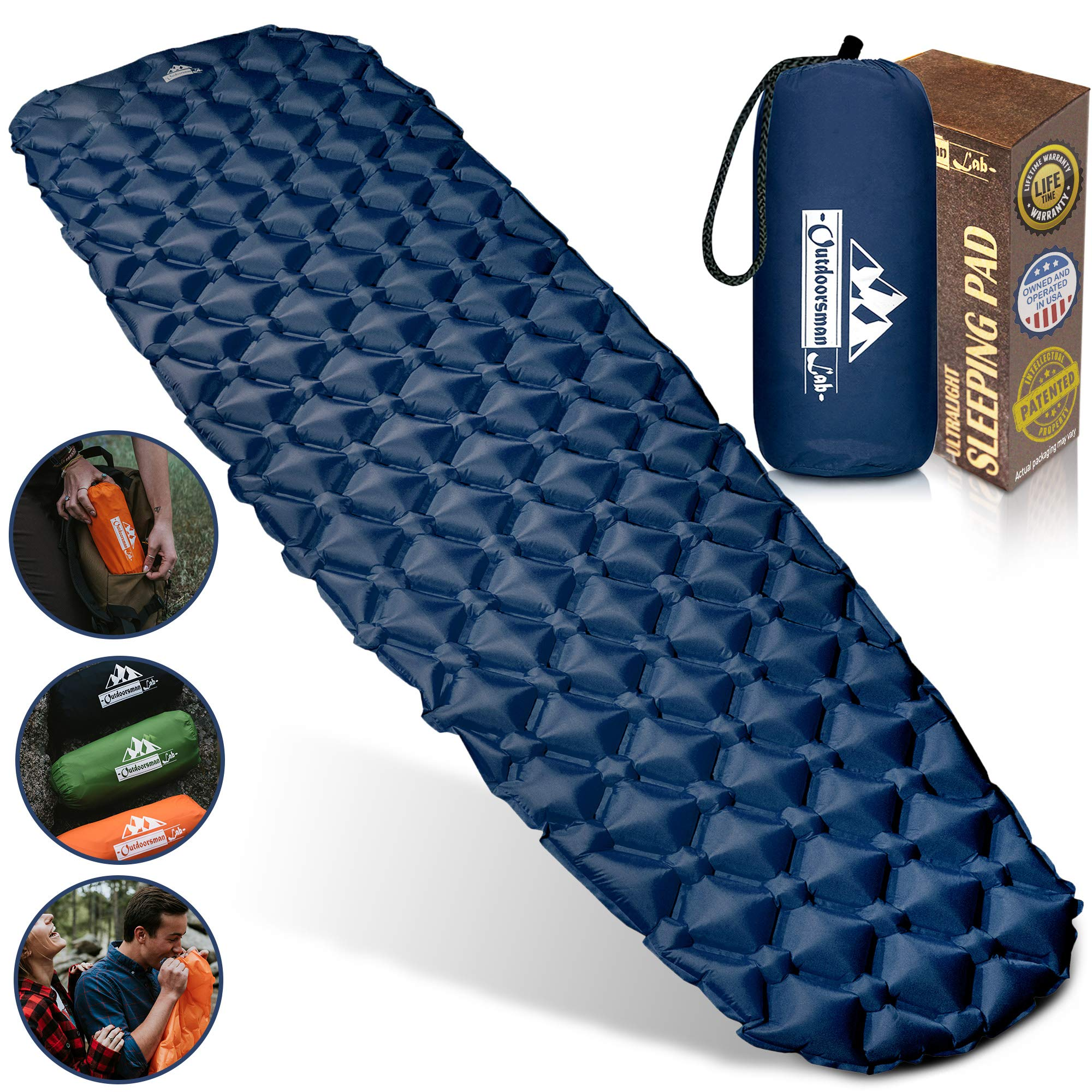 OutdoorsmanLab Ultralight Sleeping Pad - Ultra-Compact for Backpacking, Camping, Travel w Air-Support Cells Design (Blue) by Outdoorsman Lab