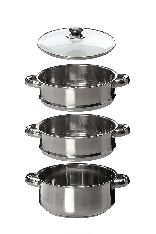 Premier Housewares Cuiseur vapeur Couvercle verre Fond encapsul/é Inox 3 /étages 22 cm x 25 cm