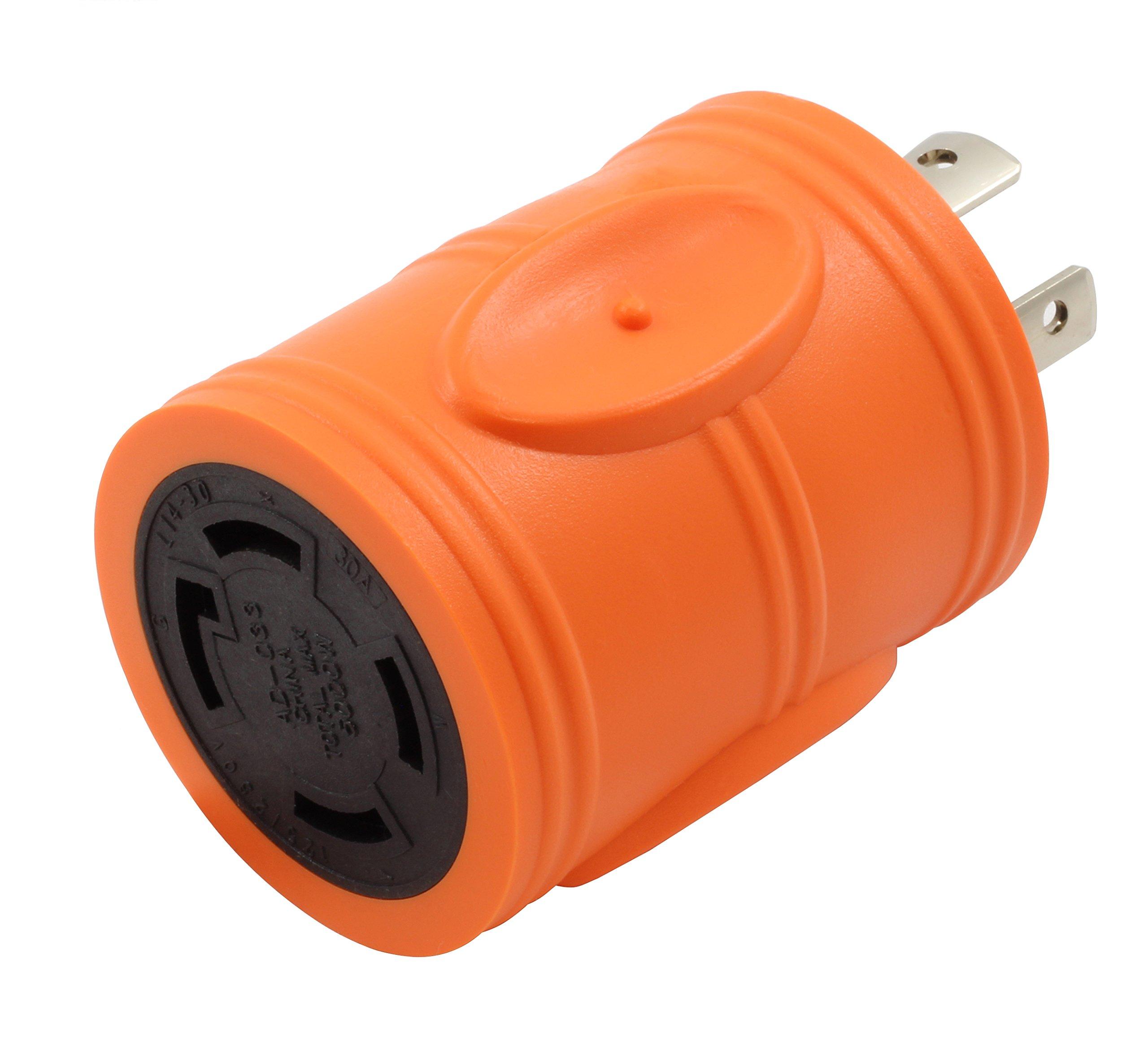 AC WORKS [ADL1420L1430] 20Amp 4 Prong 125/250Volt L14-20P Locking Plug to L14-30R 30Amp 4Prong 125/250Volt Locking Female Connector Adapter by AC WORKS (Image #1)