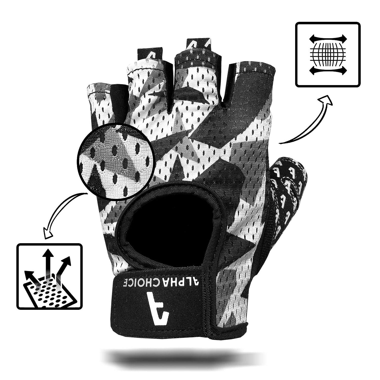 tama/ño Small Color Camuflaje Alpha Choice Fitness Guantes//Guantes de Entrenamiento sin Mano Tobillera para Entrenamiento de la Fuerza Levantamiento de Pesas y Bodybuilding Hombre /& Mujer