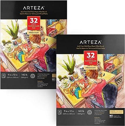 Arteza Cuadernos para acuarelas | Pack de 2 blocs de acuarela | Papel blanco de 300 gramos prensado en frío | Perfecto para pinturas de agua, medios secos y mixtos | 64 hojas en total: Amazon.es: Hogar