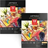 Arteza Watercolor Paper 9x12 Inch, Pack of 2, 64 Sheets (140lb/300gsm), Cold Pressed Art Sketchbook Pad for Painting…