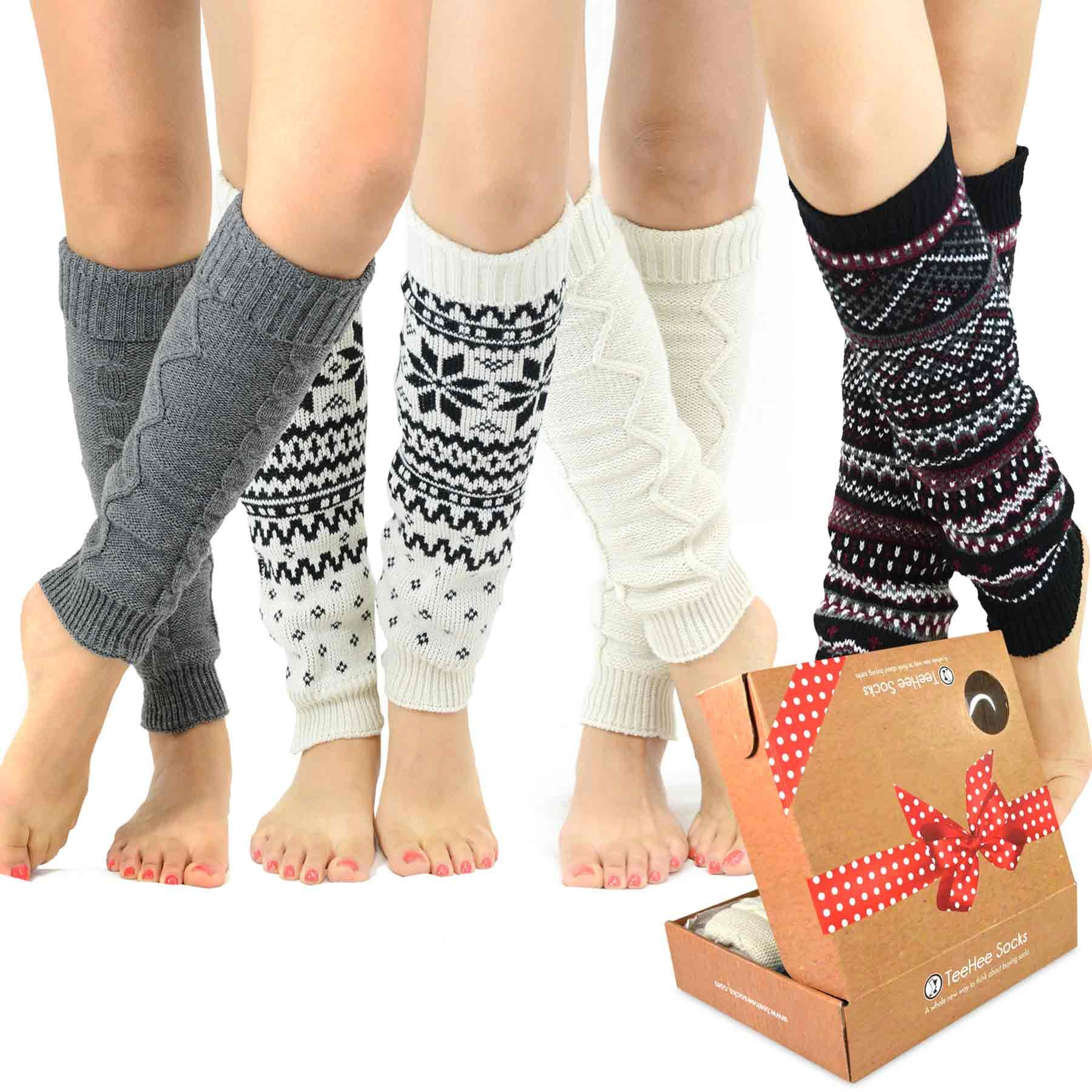 TeeHee Gift Box Women's Fashion Leg Warmers 4-Pack Assorted Colors (Assorted B)