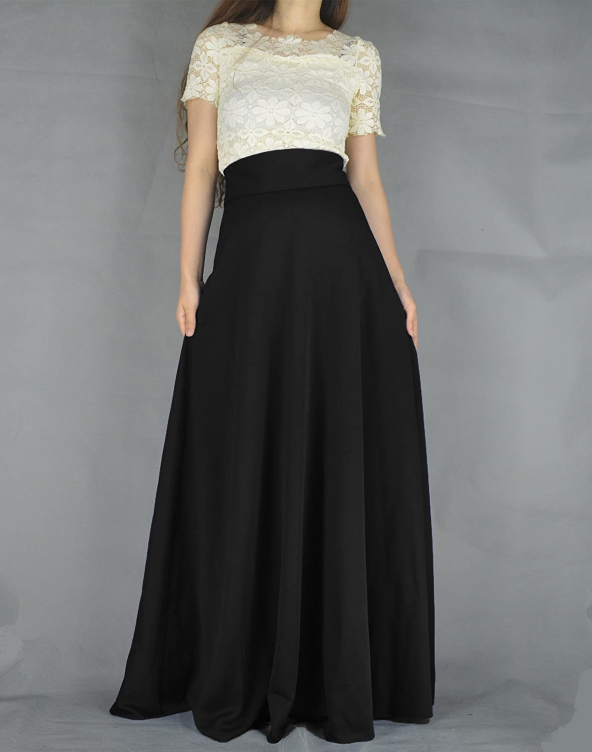 1900-1910s Clothing YSJ Womens High Waist A-Line Pleated Solid Vintage Swing Maxi Skirts Midi Skirt Party $31.99 AT vintagedancer.com