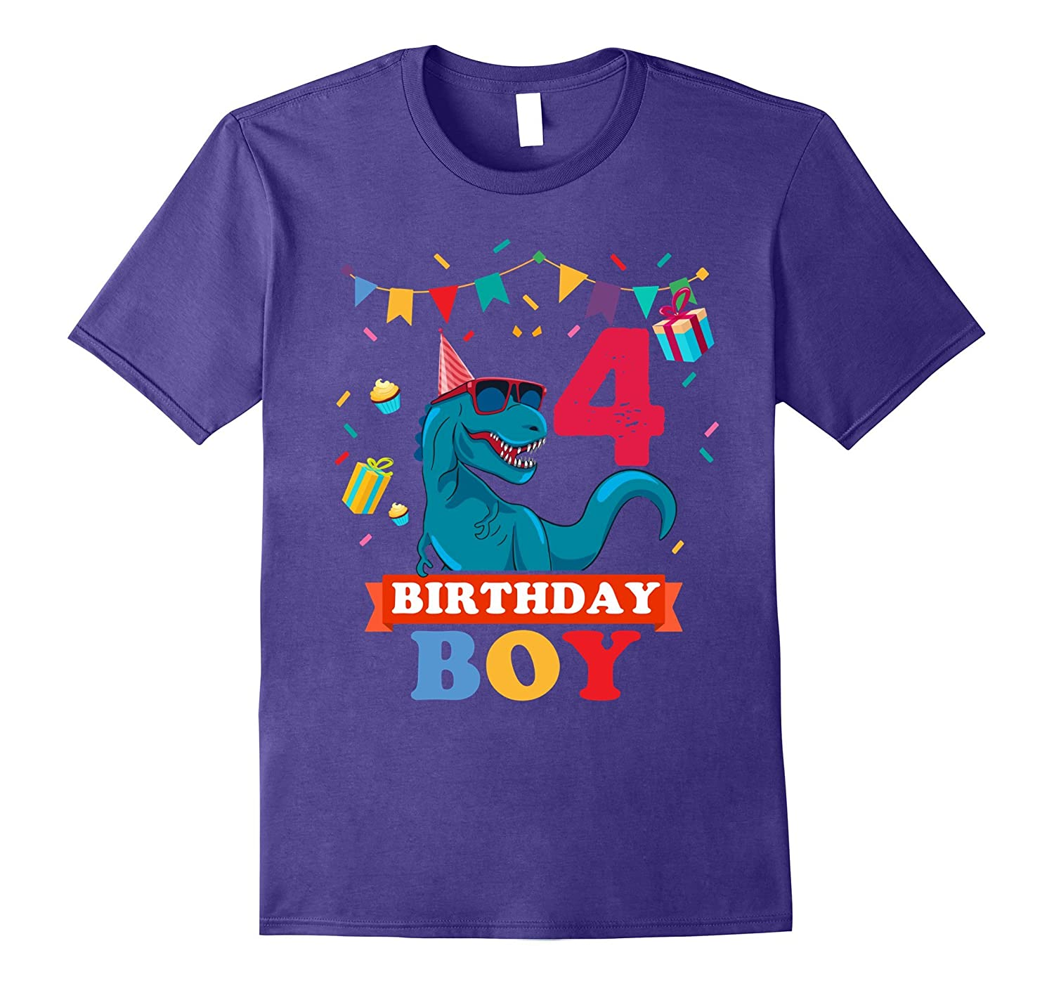 4th Birthday Boy T-shirt Birthday dinosaur-FL