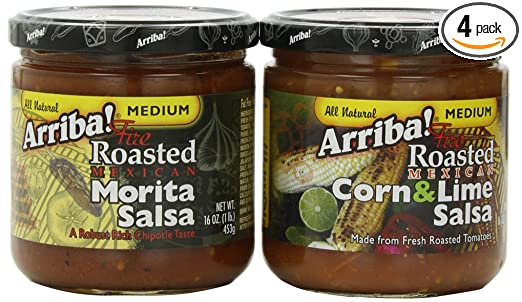 Corn & Lime Salsa and Morita Salsa Combo Pack, 16 Ounce Jars (Pack of 4)