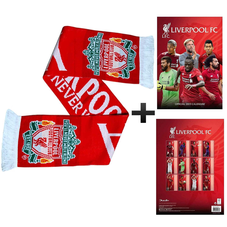Offizielle Liverpool FC 2019 Fußball Kalender (A3) Und Fans Schal Geschenk Set FC Liverpool