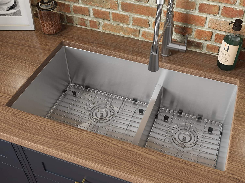 Ruvati 33-inch Low-Divide Undermount Tight Radius 60 40 Double Bowl 16 Gauge Stainless Steel Kitchen Sink – RVH7419
