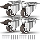 GBL - 1'' Small Caster Wheels + Screws 90Lbs | Low Profile Castor Wheels with Brakes | Dolly Wheels for Furniture…