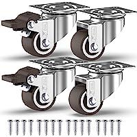 GBL® 4 Kleine Zwenkwielen 25mm + Schroeven TPR Rubber | Zwaarlastwielen 40KG - Zwenkwielen Voor Meubels | Zwenkwieltjes…