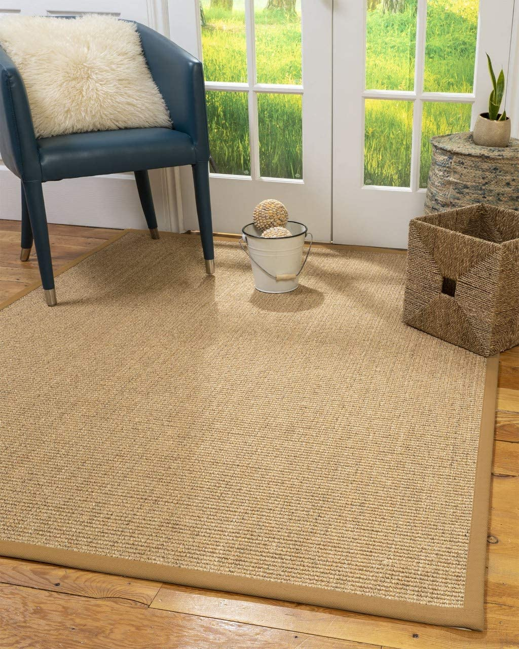 Natural Area Rugs 100 Natural Fiber Handmade Studio, Beige Sisal Rug, 2 9 x 9 Khaki Border