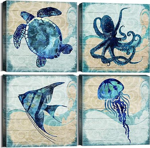Octopus Love Sea Life Watercolor Illustrations Print Wall Art Poster Decor