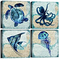 Ocean Life Theme Bathroom Decor Teal Mediterranean Style Home Canvas Wall Art Watercolor Painting Beach Marine Sea Animal Turtle Octopus Print Framed Stretched Pictures Set of 4 Panels 12 x 12 Inch