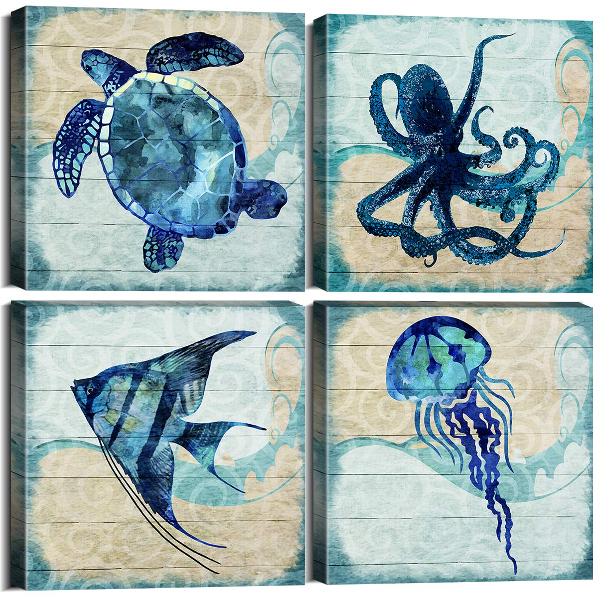 Ocean Animal Theme Teal Home Wall Art Decor Blue Mediterranean Style Canvas Prints Framed Stretched Ready to Hang Octopus Turtle Sea Fish Angelfish Pictures Posters Bathroom Set of 4 Panels 12 x 12""