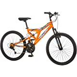 """Pacific Boys Derby Full Suspension Bicycle with 24"""" Wheels, Orange, 13""""/Small"""