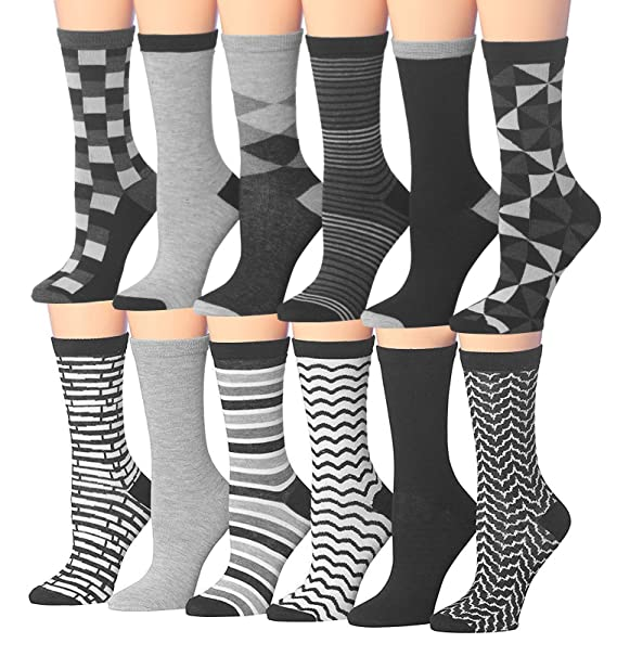 6990735b1b4 Tipi Toe Women s 12 Pairs Colorful Patterned Crew Socks (WC78-AB) at ...