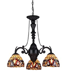 "Chloe Lighting CH33353VR21-DC3 Serenity Tiffany-Style Victorian 3-Light Mini Chandelier, 25.8 x 20.5 x 20.5"", Bronze"