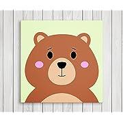 Cute Little Animals Nursery Wall Decor, Baby Room Canvas Art (11  W x 11  H, Bear)