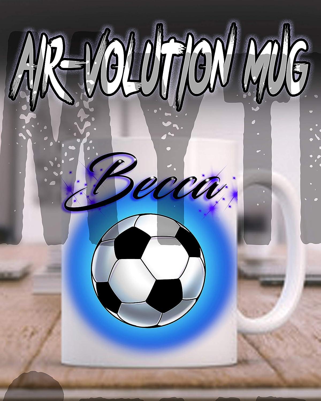 Mythic Airbrush Taza de cerámica del aerógrafo del balón de fútbol ...