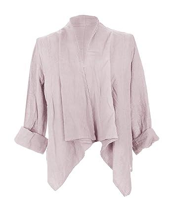 678b562c6043 TEXTURE Ladies Womens Italian Lagenlook Long Sleeves Linen Waterfall Crop  Buckle Jacket Shrug Cardigan One Size (One Size