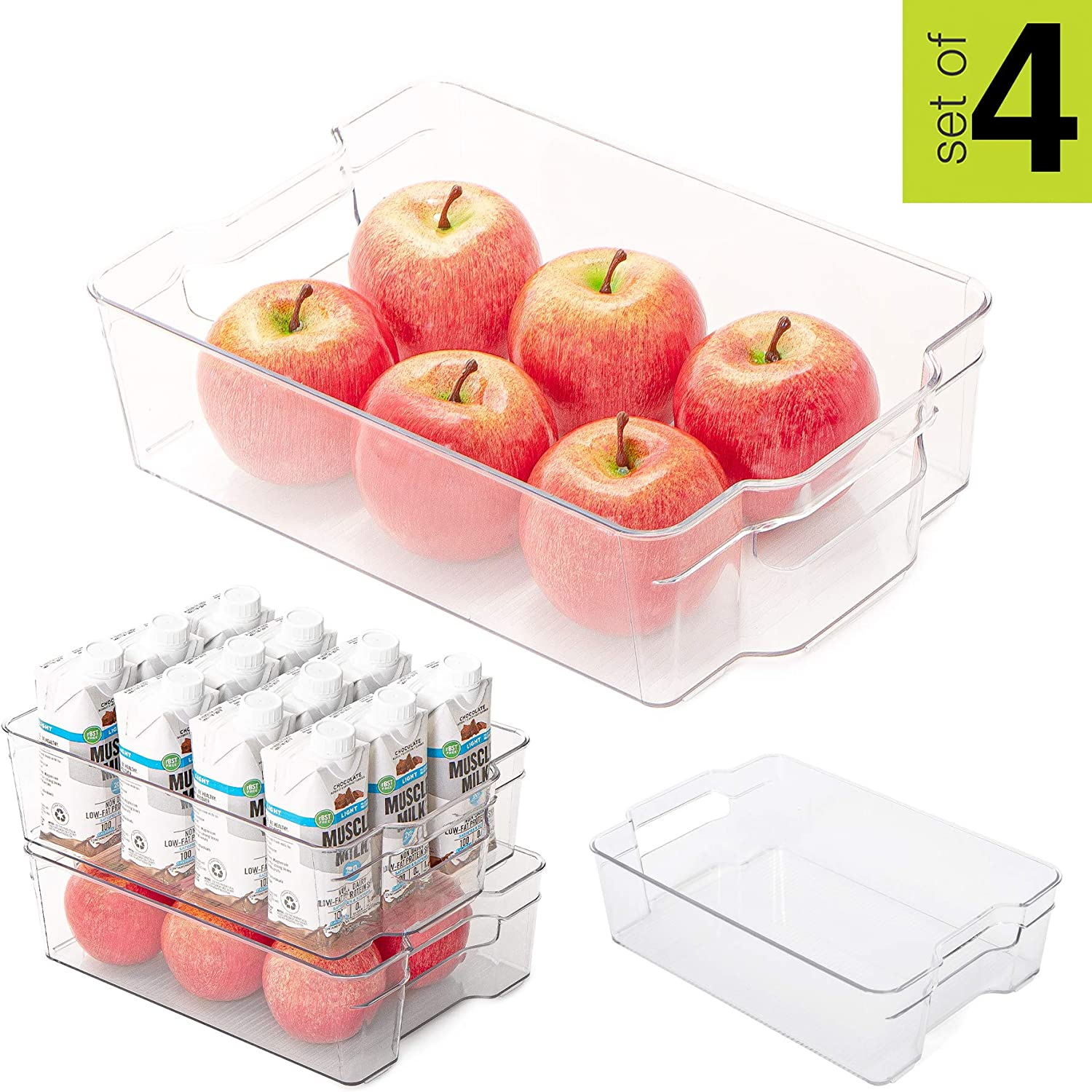 Smart Design Stackable Refrigerator Bin - (8 x 12 Inch) - w/Handle - BPA Free Polyethylene - for Fridge, Freezer, Pantry Organization - Kitchen [Clear] - Set of 4