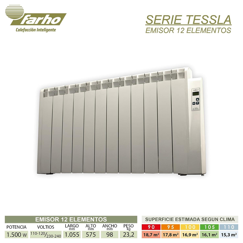 farho Tessla - Radiador Eléctrico de bajo Consumo 1500 W, Digital Programable y con opción WiFi - Emisor Térmico Ideal para estancias hasta 18,70 m2-20 AÑOS ...