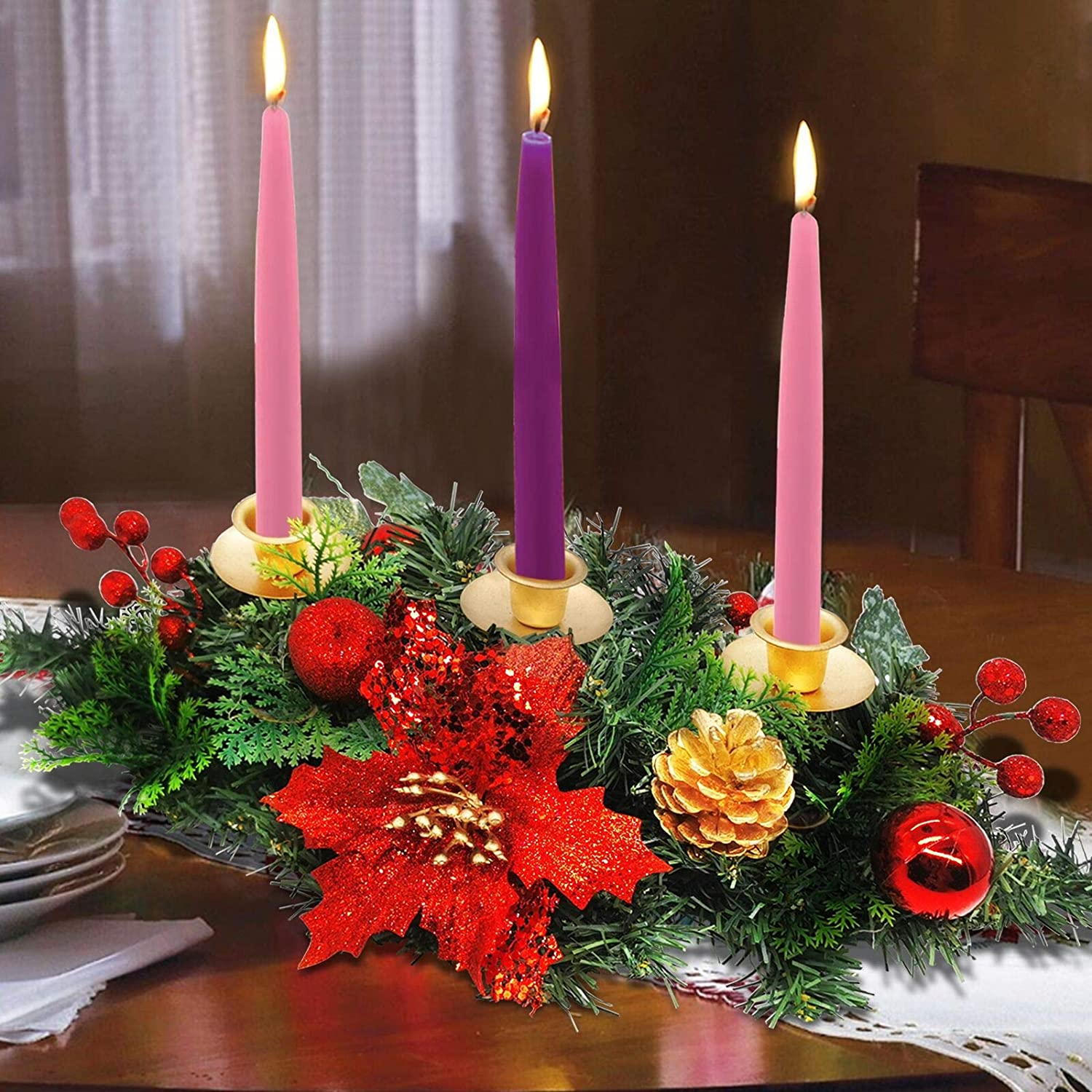 20 Inch Christmas Advent Wreath Christmas Decoration Oval 3 Candles Holder with Glitter Sequin Poinsettia Red Berries Ball Ivy Leaves Shrubs Advent Season Holiday Xmas Decor Indoor Home