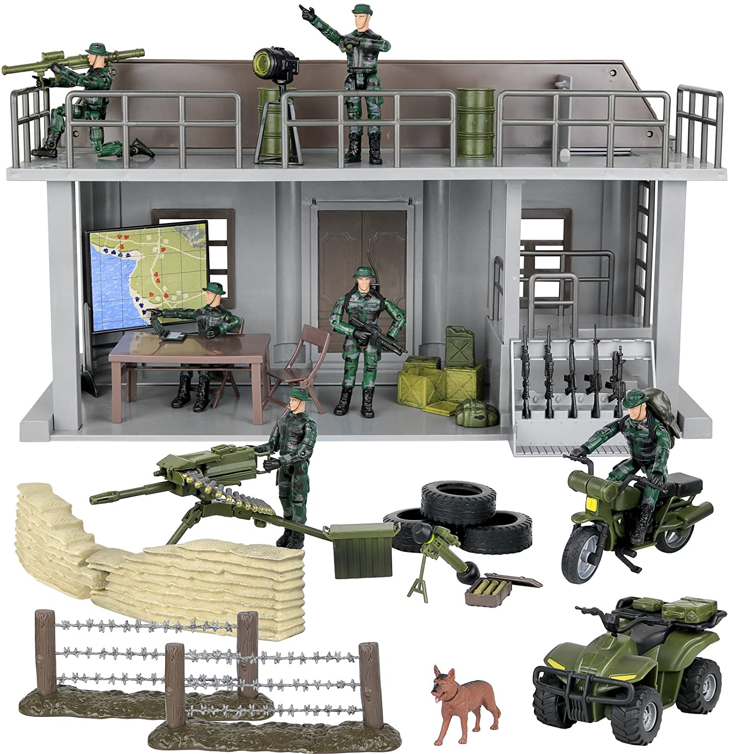 Click N' Play Military Multi Level Command Center Headquarters 51 Piece Play Set With Accessories. Click N' Play CNP1331